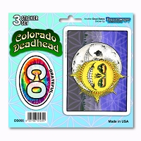 DS056 Colorado Deadhead Skeleton Sun Grateful Dead State 3 Sticker Set