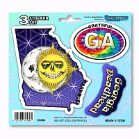 DS060 Georgia Deadhead Skeleton Sun Moon Grateful Dead State 3 Sticker Set