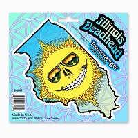 DS063 Illinois Deadhead Skeleton Sunshine Daydream Grateful Dead Sun Sticker Set