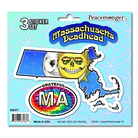 DS071 Massachusetts Deadhead Skeleton Sun Moon Grateful Dead State 3 Sticker Set