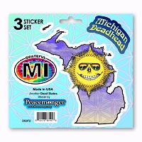 DS072 Grateful Michigan  Deadhead State Skeleton Sun Decal Dead State 3 Sticker Set