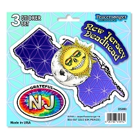 DS080 New Jersey Deadhead Skeleton Sun Moon Grateful Dead State 3 Sticker Set