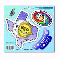 DS093 Grateful Texas Deadhead Skeleton Sun Decal Dead State 3 Sticker Set