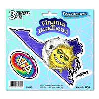 DS096 Virginia Deadhead Skeleton Sun Moon Grateful Dead State 3 Sticker Set