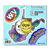 DS098 West Virginia Skeleton Sun Moon Grateful Dead State 3 Sticker Set