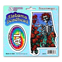DS101 Alabama Deadhead Bertha Skeleton Roses Grateful Dead State 3 Sticker Set