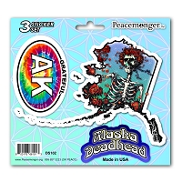DS102 Alabama Deadhead Bertha Skeleton Roses Grateful Dead State 3 Sticker Set