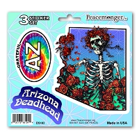 DS103 Arizona Deadhead Bertha Skeleton Roses Grateful Dead State 3 Sticker Set