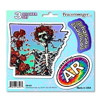DS104 Arkansas Deadhead Bertha Skeleton Roses Grateful Dead State 3 Sticker Set