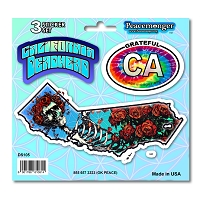 DS105 California Deadhead Bertha Skeleton and Roses Grateful Dead Sticker Decal