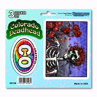 DS106 Colorado Deadhead Bertha Skeleton Roses Grateful Dead State 3 Sticker Set