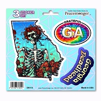 DS110 Georgia Deadhead Bertha Skeleton Roses Grateful Dead State 3 Sticker Set