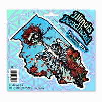 DS113 Illinois Deadhead Bertha Skeleton with Roses Grateful Dead Sticker Decal