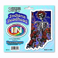 DS114 Indiana Deadhead Bertha Skeleton Roses Grateful Dead State 3 Sticker Set