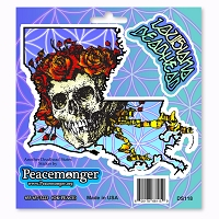 DS118 Louisiana Deadhead Grateful Dead States Skeleton Bertha with Roses 3 Sticker Decal Set