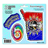 DS121 Massachusetts Deadhead Bertha Skeleton Roses Grateful Dead 3 Sticker Set