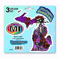 DS122 Michigan Deadhead Bertha Skeleton with Roses Grateful State Dead 3 Sticker Set