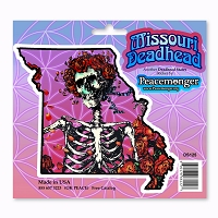 DS125 Missouri Deadhead Bertha Skeleton and Roses Grateful Dead Sticker Decal