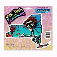 DS132 New York Deadhead Grateful Dead States Bertha Skeleton and Roses Sticker