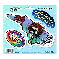 DS133 North Carolina Deadhead Bertha Skeleton Roses Grateful Dead 3 Sticker Set
