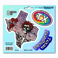 DS143 Texas Deadhead Bertha Skeleton and Roses Grateful Dead State 3 Sticker Set