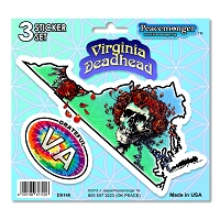 DS146 Virginia Deadhead Bertha Skeleton Roses Grateful Dead 3 Sticker Set