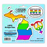 PK023 Michigan Tolerance State Gay Lesbian Bisexual Transgender 3 Sticker Set