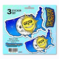 DS203 Grateful American USA Deadhead Dead State Skeleton Sun Sunshine Daydream 3 Sticker Decal Set