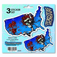 DS204 American Deadhead Bertha Skeleton Roses USA Grateful Dead 3 Sticker Set