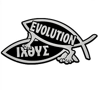 F13 - Evolution Humping Fish 3D Chrome Car Truck Emblem Sticker Jesus Parody Darwin