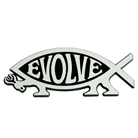 F02 - Evolve Walking Fish 3D Chrome Auto or Truck Emblem Sticker Jesus Parody Darwin