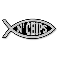 F05 - Fish N'Chips 3D Chrome Auto or Truck Emblem Sticker Jesus Parody