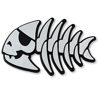 F06 - Pirate Fish Bones 3D Chrome Auto or Truck Emblem Sticker Jesus Parody