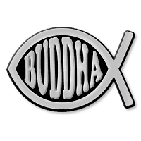 F12 Buddha Fish 3D Chrome Car or Truck Emblem Sticker Jesus Parody Darwin