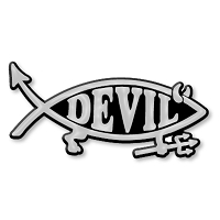 F15 - Devil Fish 3D Chrome Car or Truck Emblem  Sticker Jesus Parody Darwin