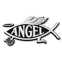 F17 - Angel Fish 3D Chrome Car Truck Emblem  Sticker Jesus Parody Darwin