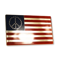 F23 - Peace Flag 3D Chrome Auto or Truck Emblem