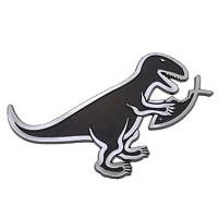 F10-MAG  T-Rex Eating Fish 3D Chrome Car Truck Emblem  Jesus Parody Darwin MAGNET
