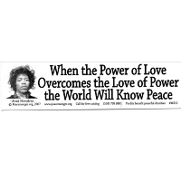 MS012 - When the Power of Love Overcomes the Love of Power - Jimi Hendrix Quote Mini Sticker