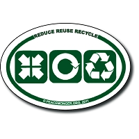 OM027 - Reduce, Reuse, Recycle Mini Oval Bumper Sticker