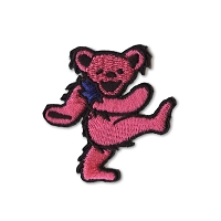 P087B Pink Grateful Dead Rainbow Marching Dancing Bear Embroidered Iron On Patch