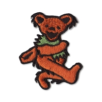 P087C Red Grateful Dead Rainbow Marching Dancing Bear Embroidered Iron On Patch