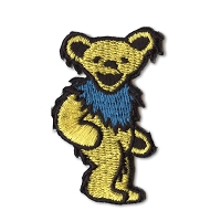 P087D Yellow Grateful Dead Rainbow Marching Dancing Bear Embroidered Iron On Patch