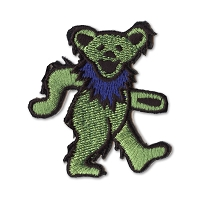 P087E Green Grateful Dead Rainbow Marching Dancing Bear Embroidered Iron On Patch