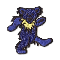 P087F Blue Grateful Dead Rainbow Marching Dancing Bear Embroidered Iron On Patch