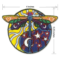 P231 Cosmic Dragonfly by Jerry Jaspar Sun Moon Yin Yang Embroidered 4 Inch Iron On Patch