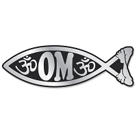 PF004 - Om Fish Chrome 3D Emblem Car Auto Truck Home  Sticker Jesus Parody Darwin