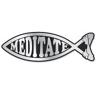 PF005 - Meditate Fish Chrome 3D Emblem for Auto Truck and Home  Sticker Jesus Parody Darwin