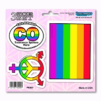 PK007 Colorado Tolerance LGBT Gay Lesbian Bisexual Transgender 3 Sticker Set