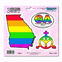 PK011 Georgia Tolerance LGBT Gay Lesbian Bisexual Transgender 3 Sticker Set